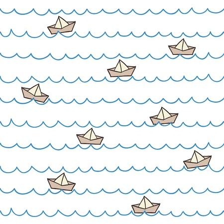Seamless summer pattern  Boats on waves  Vector illustration