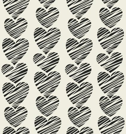 Seamless black striped hearts pattern  Vector illustration Stock Vector - 15703729