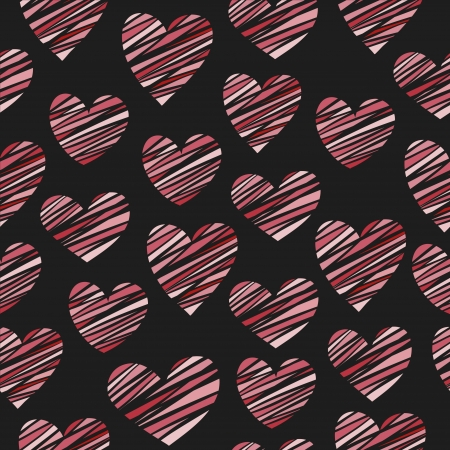 Seamless color striped hearts pattern  Vector illustration Vector