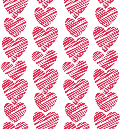 Seamless red striped hearts pattern  Vector illustration Vector