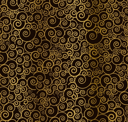 Seamless beautiful golden curly pattern  Vector illustration