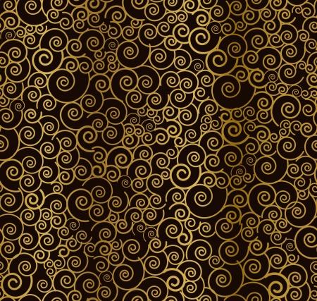 gold swirls: Seamless beautiful golden curly pattern  Vector illustration