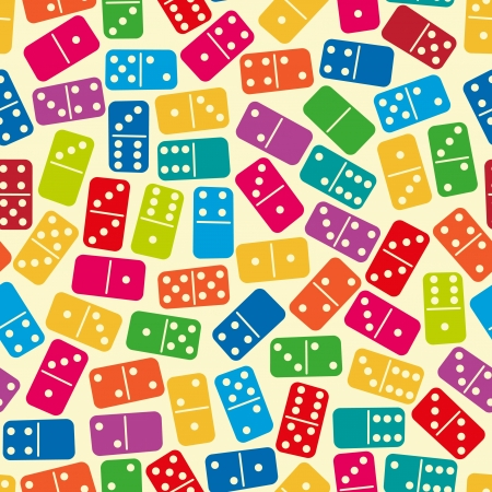 domino: Seamless stylish color dominoes pattern  Vector illustration