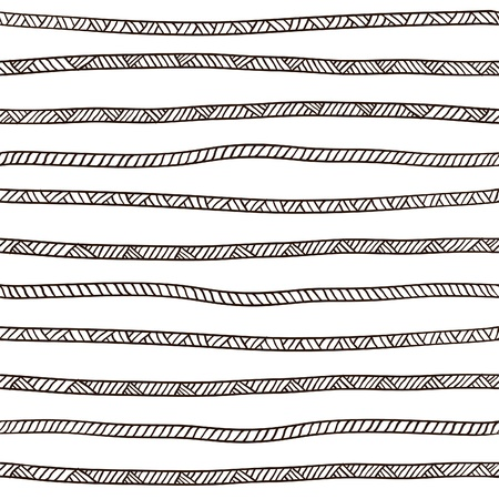 lijntekening: Naadloze touw patroon. Zwart en wit.