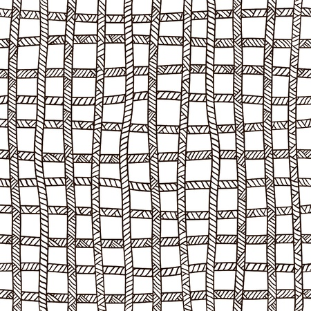 Seamless plaid rope pattern. Black and white.  Vector