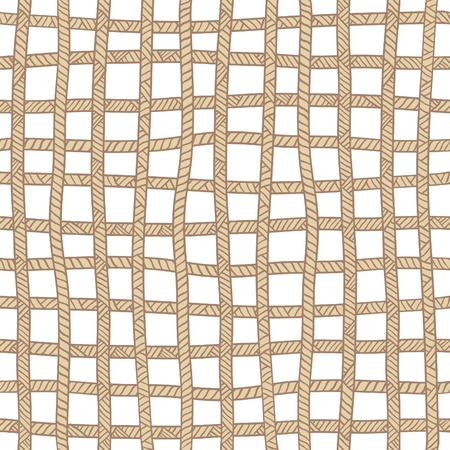 Seamless beige plaid rope pattern.