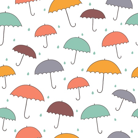 Seamless rainy pattern with color umbrellas. Vector