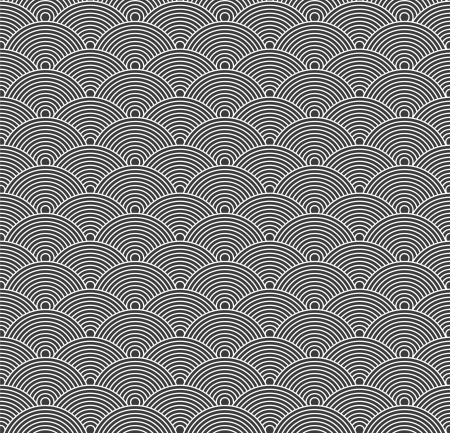 Seamless abstract gray pattern with circles. Vector
