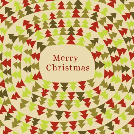 winter fun: Funny Christmas card with color christmas trees.