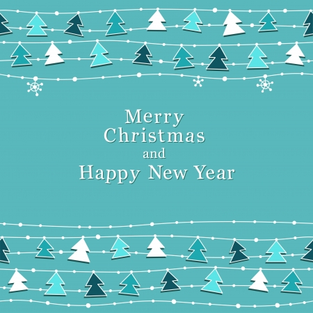 festoon: Cute Christmas and New Year card. Seamless borders.