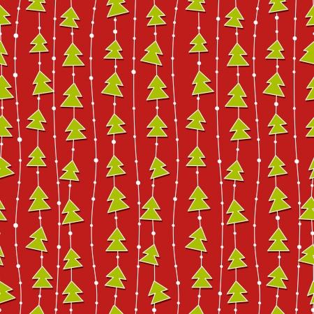 , Rosso, motivo di Natale con verdi alberi di Natale. Vettoriali