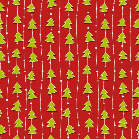 Red Christmas pattern with green christmas trees. Vector