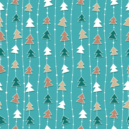 Funny blue Christmas pattern with color christmas trees. Vector