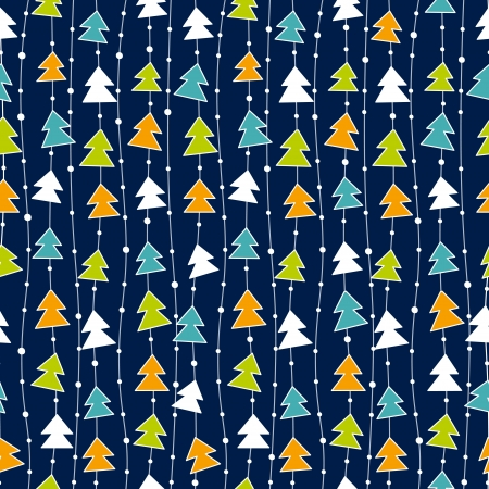 Funny Christmas pattern with color christmas trees.  Vector