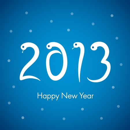 Blue 2013 new year card with snake numbers  Vector Illustration Stock Vector - 16154836