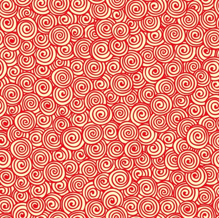 Seamless abstract hand-drawn pattern with red spirals  Vector