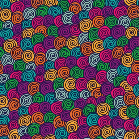 Seamless abstract hand-drawn pattern with bright color spirals