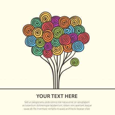 Hermoso color abstracto árbol estilizada ilustración vectorial