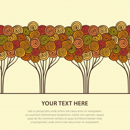 drawing trees: Abstract seamless stylized autumn trees  Vector illustration