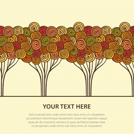 Abstract seamless stylized autumn trees  Vector illustration Stock Vector - 16154803