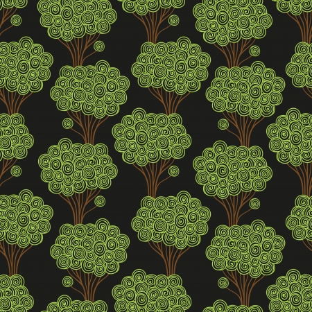Seamless pattern  Stylized dark forest  Vector illustration Vector
