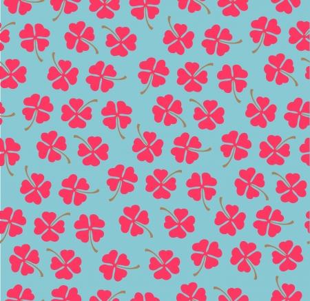 clover backdrop: Pink clovers on blue background  Seamless pattern  Vector Illustration