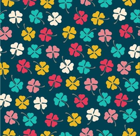 clover backdrop: Seamless stylish color clover pattern  Vector illustration