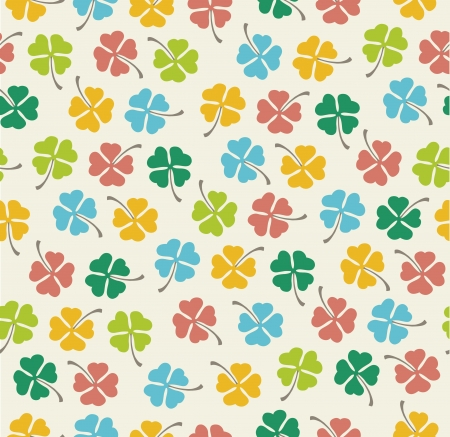 clover leaf shape: Seamless cute color clover pattern  Vector illustration Illustration
