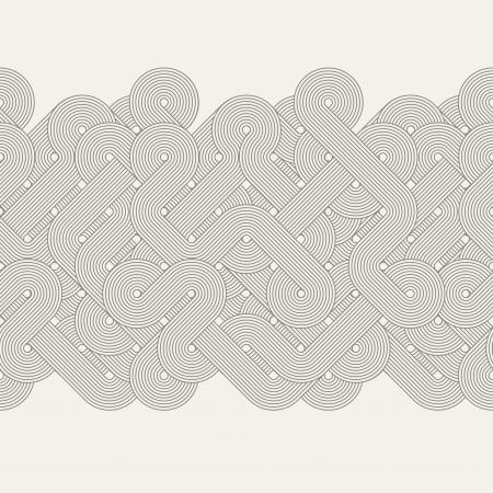 lijntekening: Naadloze abstracte grens Twisted lijnen Vector illustratie