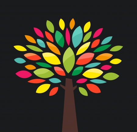 Stylized tree with color leaves Vector