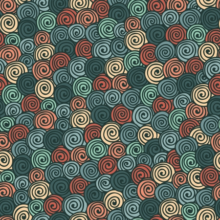 Seamless abstract hand-drawn pattern with bright color spirals Vector