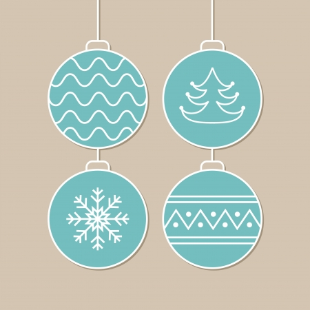 Stylish card with blue christmas balls  Vector illustration Stock Vector - 16154788