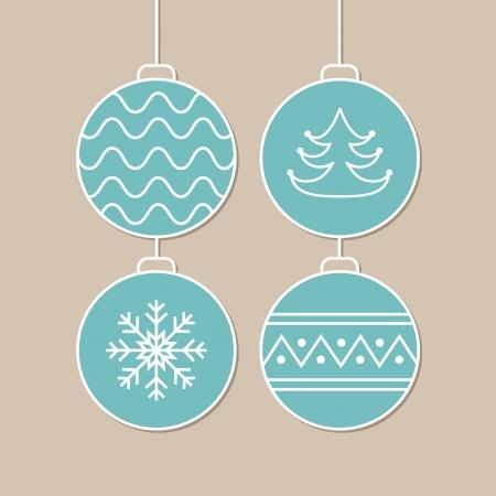 Stylish card with blue christmas balls  Vector illustration Stock Vector - 16154788