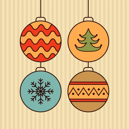 Stylish card with color christmas balls  Vector illustration Vector