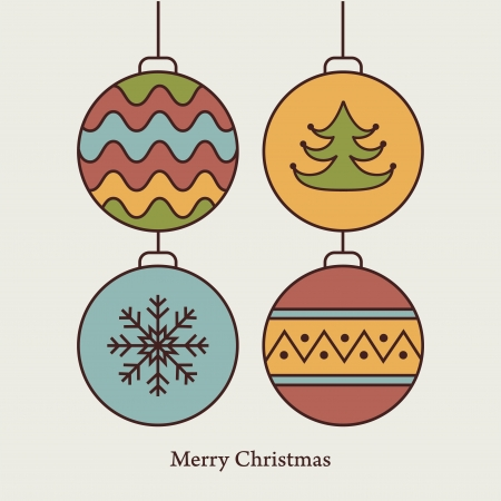 Stylish card with christmas balls  Vector illustration Stock Vector - 16163538