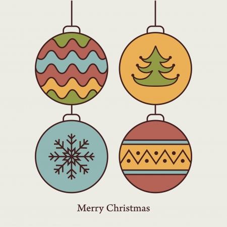 Stylish card with christmas balls  Vector illustration Stock Vector - 16163538