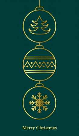Stylish christmas card  Gold on green  Vector illustration Stock Vector - 16154649