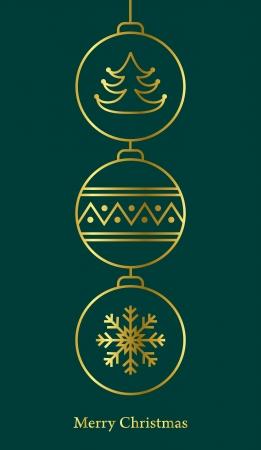 Stylish christmas card  Gold on green  Vector illustration Stock Vector - 16154649