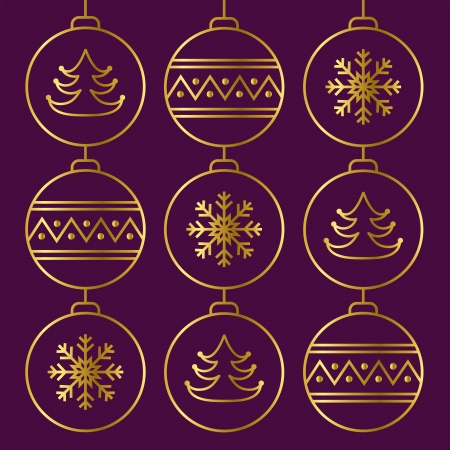 Stylish card with golden christmas balls   Vector illustration Stock Vector - 16399220