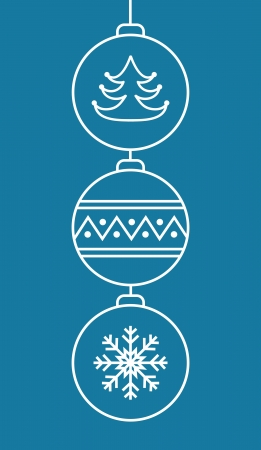 Three stylish christmas balls on blue background   Vector illustration Vector