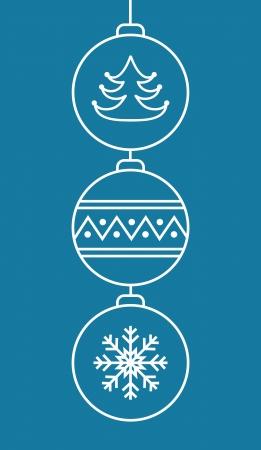 Three stylish christmas balls on blue background   Vector illustration Stock Vector - 16399222