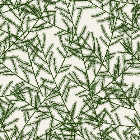 pine needles: Christmas tree branches   Seamless pattern   Vector illustration