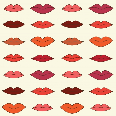 lips smile: Stylish pattern with color lips illustration