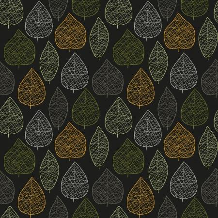 Seamless stylized dark leaf pattern  illustration