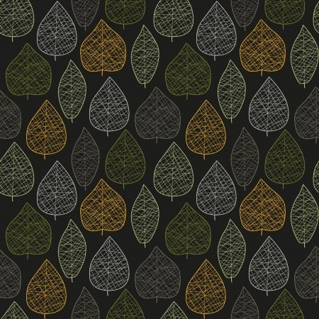 Seamless stylized dark leaf pattern  illustration