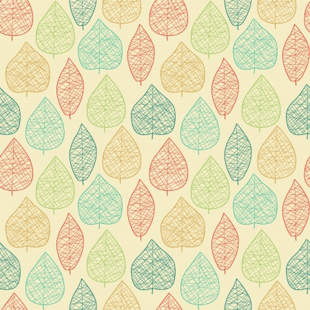 Seamless pattern with stylized leaves  illustration Illustration