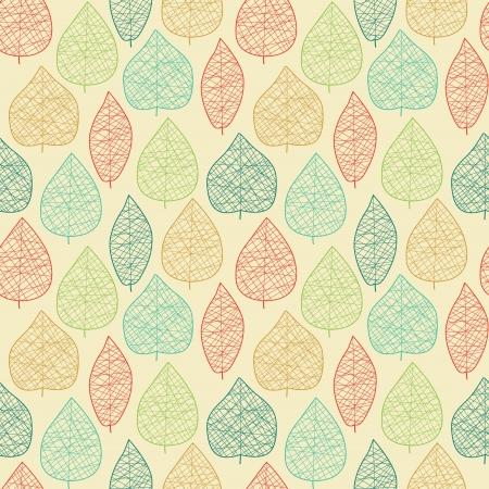 Seamless pattern con foglie stilizzate illustrazione