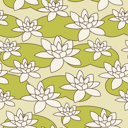 Seamless hand drawn water-lily pattern illustration Vector
