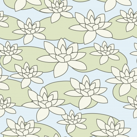 Seamless stylish light water-lily pattern illustration Stock Vector - 16556474
