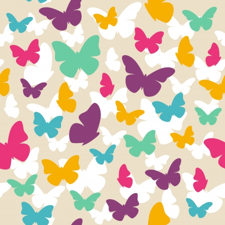 Seamless beautiful pattern with color butterflies illustration Vector